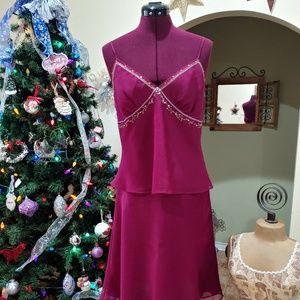 Daisy Fuentes Rasberry Color Size PL Skirt & Blous